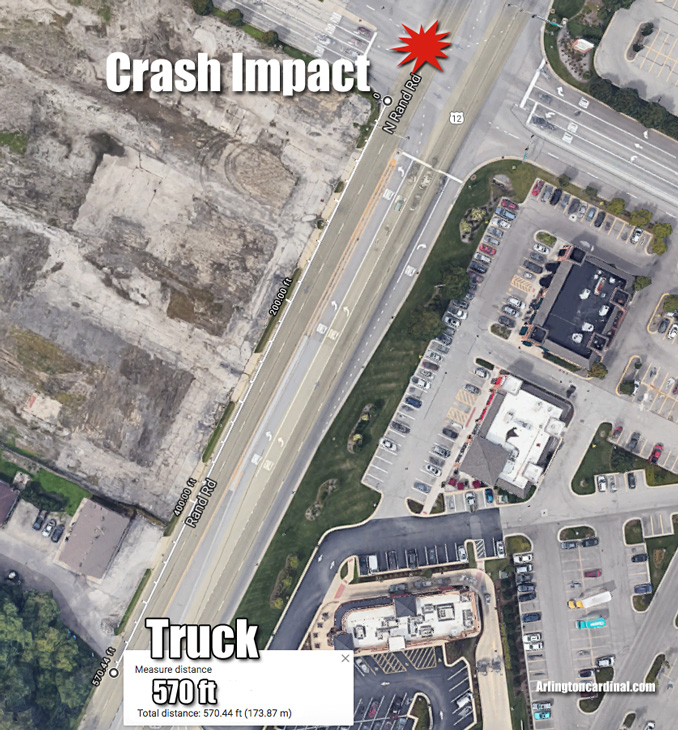 Crash Map Truck Distance - fatal crash at Rand Road and Deer Park Boulevard in Deer Park on Thursday, April 8, 2021 (Imagery ©2021 Google, Imagery ©2021 Maxar Technologies, U.S. Geological Survey, USDA Farm Service Agency, Map data ©2021)