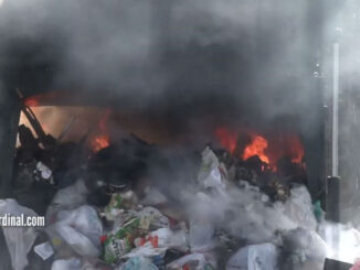 Dumping flaming garbage in the Saint James church parking lot on Friday, April 23, 2021