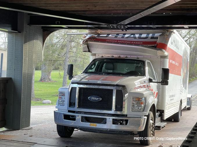 U-Haul truck crash into Robert Parker Coffin Road bridge in Long Grove on Friday, April 9, 2021.