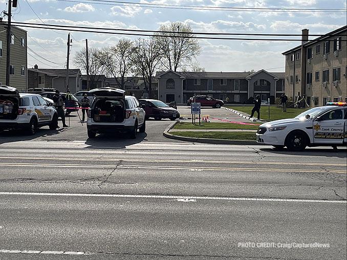 Crime scene on Greenwood Avenue near Gregory Lane, unincorporated Des Plaines (PHOTO CREDIT: Craig/CapturedNews)