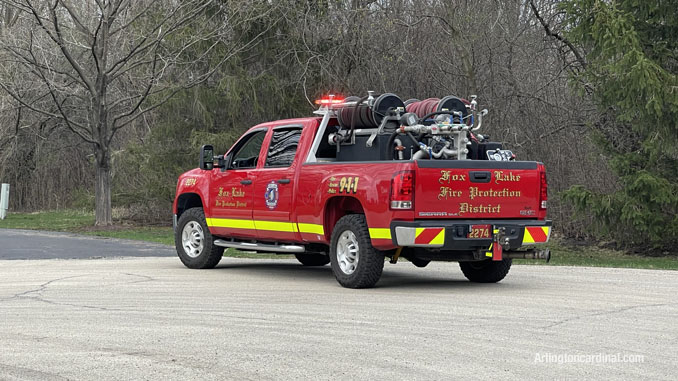 Fox Lake Fire Protection District brush truck assigned to a South Sector on Summit Drive in Kildeer at the brush fire Long Grove/Kildeer on Tuesday, April 6, 2021
