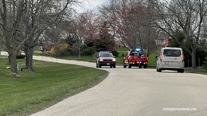Fox Lake FPD brush truck and a Grayslake chief assigned to a South Sector on Summit Drive in Kildeer at the brush fire Long Grove/Kildeer on Tuesday, April 6, 2021