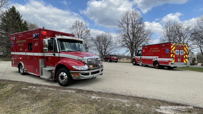 Ambulances from Arlington Heights and Des Plaines fire department and a Grayslake chief assigned to a South Sector on Summit Drive in Kildeer at the brush fire Long Grove/Kildeer on Tuesday, April 6, 2021