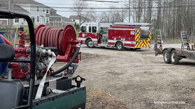 Palatine Fire Engine 82 assigned to the Long Grove/Kildeer brush fire on April 6, 2021