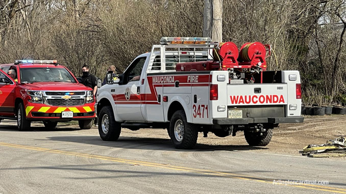 Wauconda Fire District with Long Grove Fire Command at the Long Grove/Kildeer brush fire on Tuesday, April 6, 2021