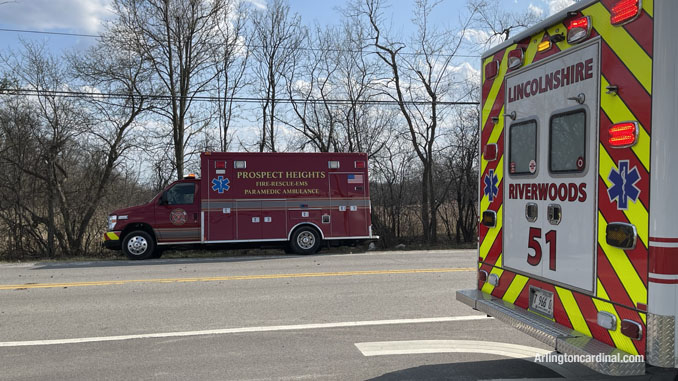Prospect Heights and Lincolnshire-Riverwoods ambulances assigned to the brush fire Long Grove/Kildeer on Tuesday, April 6, 2021