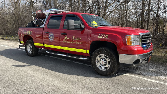 Fox Lake Fire Protection District brush truck assigned to the brush fire Long Grove/Kildeer on Tuesday, April 6, 2021