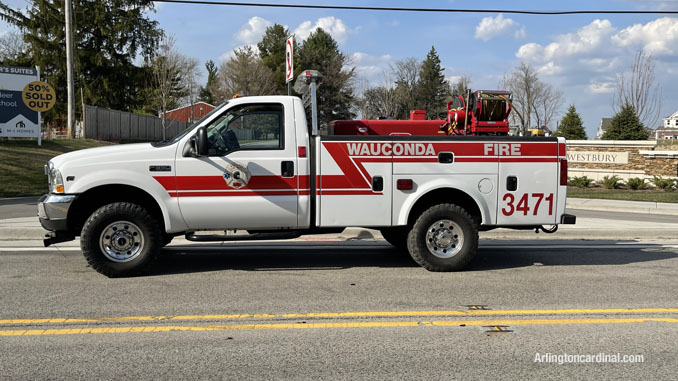 Wauconda Fire District brush truck assigned to the Long Grove/Kildeer brush fire on Tuesday, April 6, 2021