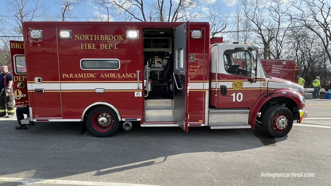 Northbrook Fire Department ambulance assigned rehab ambulance at the Long Grove/Kildeer brush fire on Tuesday, April 6, 2021