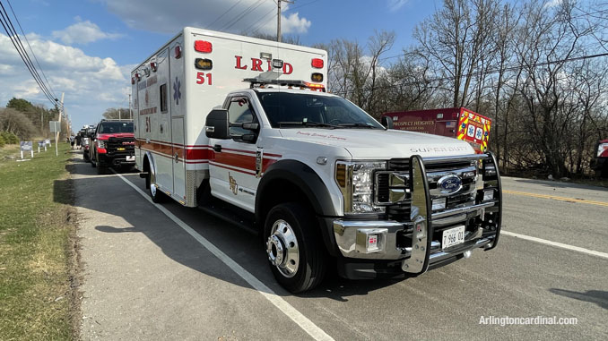 Lincolnshire-Riverwoods FPD ambulance assigned to the Long Grove/Kildeer brush fire on Tuesday, April 6, 2021