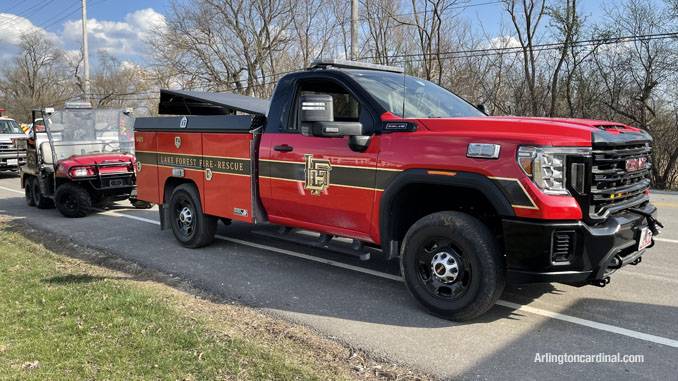 Lake Forest Fire Department assigned to the Long Grove/Kildeer brush fire on Tuesday, April 6, 2021