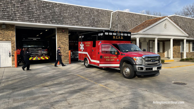 North Chicago Fire Department ambulance assigned Change of Quarters at Long Grove fire station on Tuesday, April 6, 2021