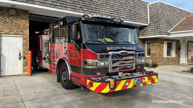 Rolling Meadows fire engine assigned Change of Quarters at Long Grove fire station on Tuesday, April 6, 2021