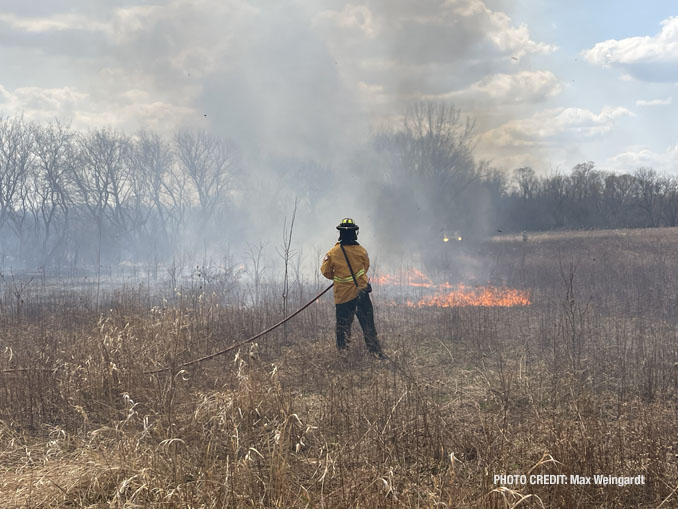 Brush fire west of Lake County Heron Creek Forest Preserve on Tuesday, April 6, 2021 (PHOTO CREDIT: Max Weingardt)