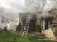House fire with a ground ladder at Side A on Gatewood Lane in Woodridge, Wednesday, April 21, 2021 (SOURCE: Lisle-Woodridge Fire District)