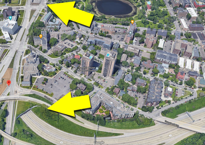 Yellow arrows show both openings of the Lowry Hill Tunnel (Imagery ©2021 Google, Imagery ©2021 Maxar Technologies, Sanborn, U.S. Geological Survey, USDA Farm Service Agency, Map data ©2021)