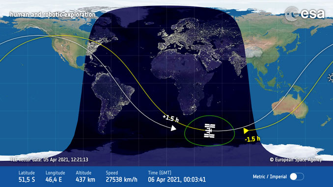 Position of the International Space Station passing the southern tip of Africa at 7:03 p.m. (SOURCE: NASA).