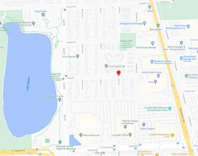 Online Sale Armed Robbery on Pine Street near Fargo Street in Des Plaines (Map Date ©2021 Google)