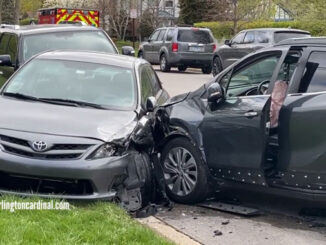 Parked vehicles hit on Oakton Street near Saint Viator in Arlington Heights