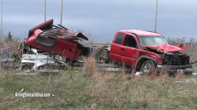 Pickup truck crash on northbound Route 53 near Lake Cook Road