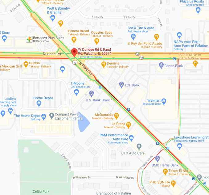 Traffic Map US-12 and US-68 during a gas leak at the southwest corner of the intersection in Palatine (Map data ©2021 Google)