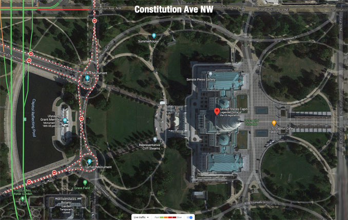 US Capitol Google Traffic Map Satellite View Friday, April 2, 2021 (Imagery ©2021 Google Imagery ©2021 CNES / Airbus, Commonwealth of Virginia, District of Columbia (DC GIS), Maxar Technologies, Sanborn, U.S. Geological Survey, USDA Farm Service Agency, Map data ©2021)