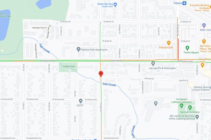Vehicle Bicycle Crash Map Cedar Street near Johnson Street Palatine (Map data ©2021 Google)