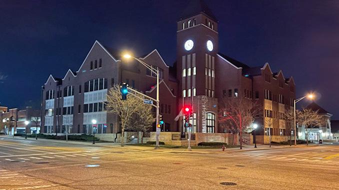 Village Hall at night, Tuesday, April 6, 2021