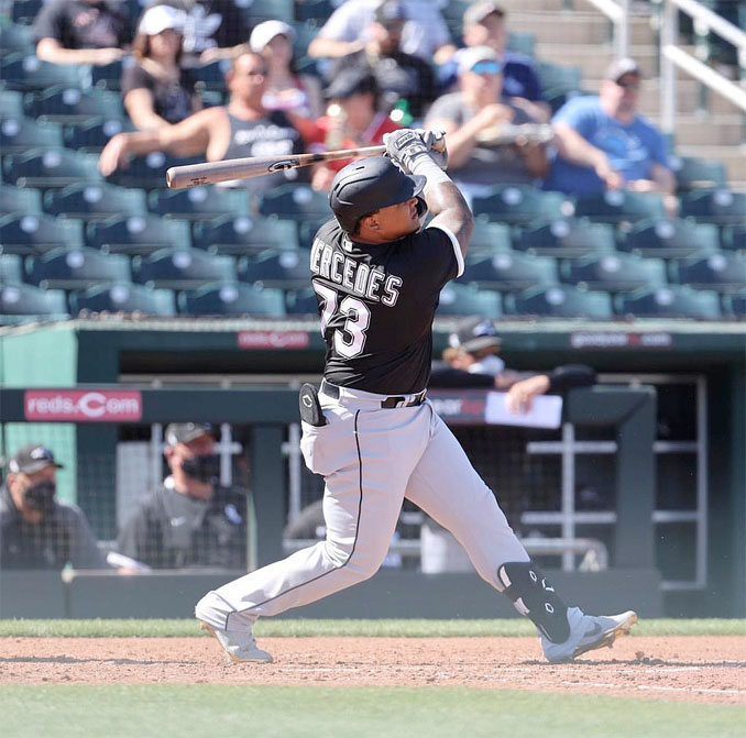 Yermín Mercedes #73 on March 6, 2021 batting against the Cleveland Indians in a Spring Training game in Goodyear, Arizona (Photo is licensed Wikipedia author Soxsox14 under the Creative Commons Attribution-Share Alike 4.0 International license)