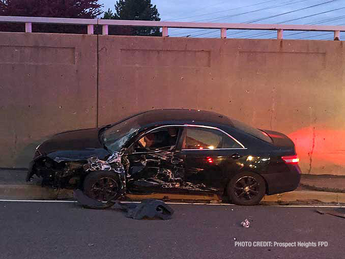 One of the vehicles hit by wrong way driver vehicle (PHOTO CREDIT: Prospect Heights Fire Protection District)