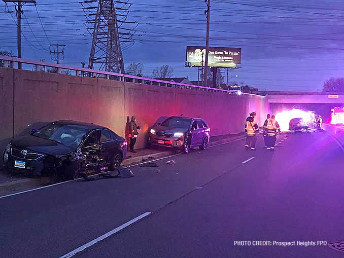 Two vehicles hit by wrong way driver vehicle (PHOTO CREDIT: Prospect Heights Fire Protection District)