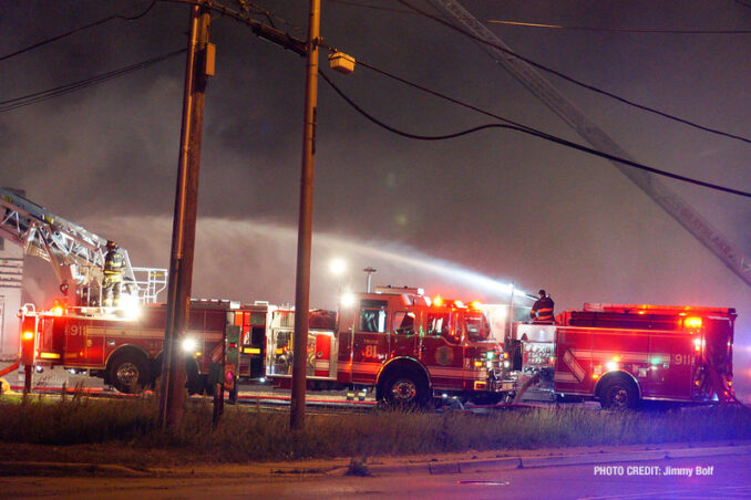 """Extra alarm fire at the former """"Just for Fun"""" Roller Rink on Front Street in McHenry on Thursday, May 27, 2021 (SOURCE: Jimmy Bolf"""