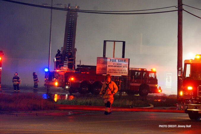 """Extra alarm fire at the former """"Just for Fun"""" Roller Rink on Front Street in McHenry on Thursday, May 27, 2021 (SOURCE: Jimmy Bolf)"""