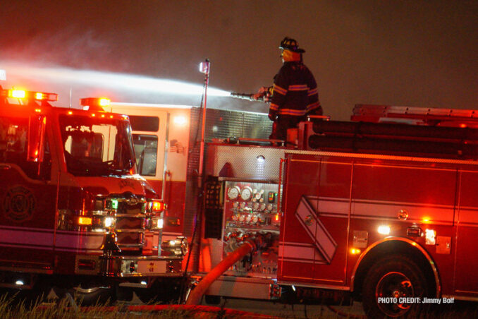 """Extra alarm fire at the former """"Just for Fun"""" Roller Rink on Front Street in McHenry (SOURCE: Jimmy Bolf)"""
