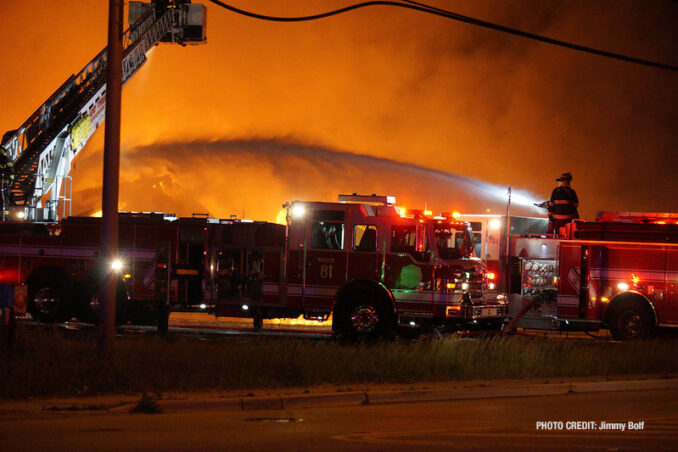 """Deck gun operating at extra alarm fire at the former """"Just for Fun"""" Roller Rink on Front Street in McHenry (SOURCE: Jimmy Bolf)"""