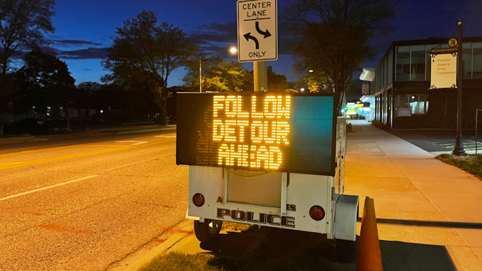 FOLLOW DETOUR AHEAD on electronic trailer sign on northbound Arlington Heights Road just north of Park Street in Arlington Heights, May 11, 2021