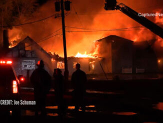 """Extra alarm fire at the former """"Just for Fun"""" Roller Rink on Front Street in McHenry (Joe Schuman/CapturedNews)"""