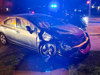 Hit-and-Run offender's Honda Civic wrecked at the southwest corner of Arlington Heights Road and Oakton Street in Arlington Heights