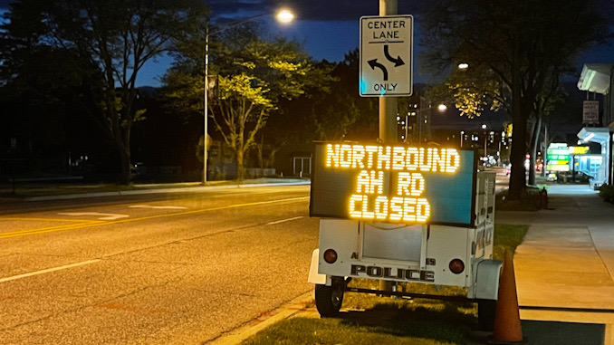 NORTHBOUND AH RD CLOSED on electronic trailer sign on northbound Arlington Heights Road just north of Park Street in Arlington Heights, May 11, 2021