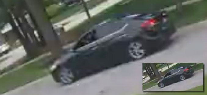 Suspect's black Hyundai Accent Limited, rear oblique view while fleeing scene (Security Image)