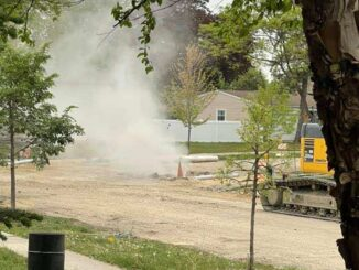 Natural gas and dust cloud blowing out of the ground near Happiness Park Greenbrier Public Improvements Project 2021