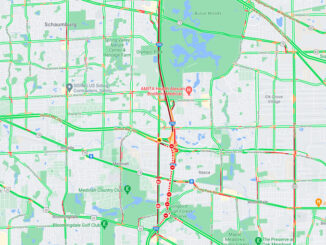 Crash map on I-290 Thursday, May 6, 2021 (Map data ©2021 Google)
