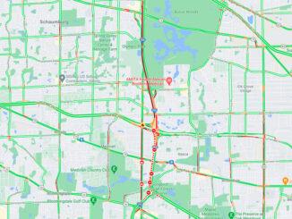 Crash map on I-290 Thursday, May 6, 2021 (Map data ©2021 Google)