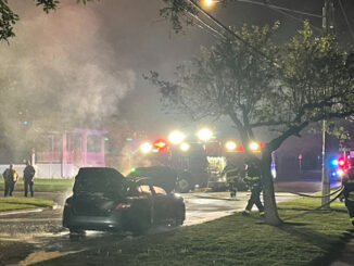 Car fire immediately after the fire was extinguished on Belmont Avenue just south of Wing Street near Recreation Park