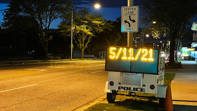5/11/2021 on electronic trailer sign on northbound Arlington Heights Road just north of Park Street in Arlington Heights, May 11, 2021