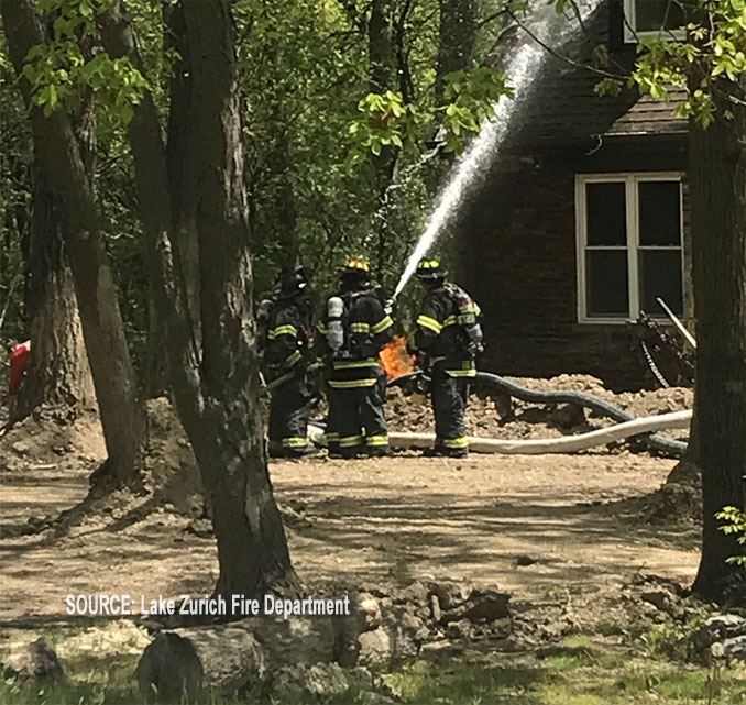 Natural Gas fire at Lake Zurich home excavation project (SOURCE: Lake Zurich Fire Department)