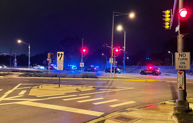 Traffic stop at US 14 EAST and Kensington Road in Arlington Heights, about 9:30 p.m. Sunday, May 23, 2021.