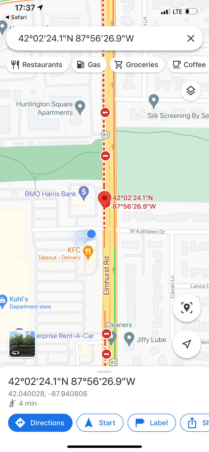 Google traffic map at scene of a hit-and-run crash on Elmhurst Road just south of Miller's Road in Mount Prospect (SOURCE: Google ©️2021
