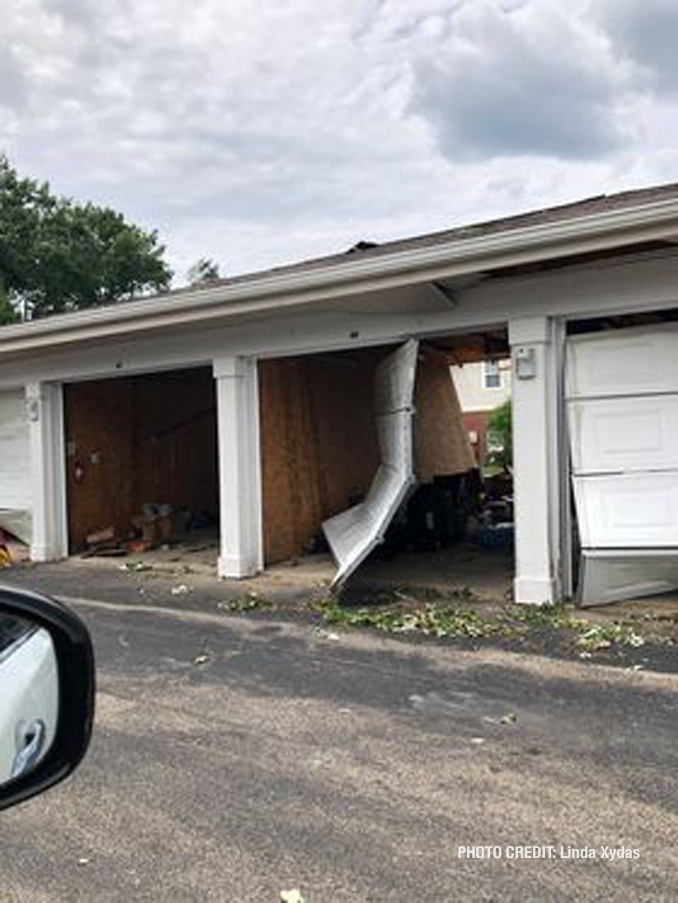 Vehicle damage from a tornado at The Estates of Thornberry Woods on Gladstone Drive just south of 75th Street near the border of Naperville and Woodridge