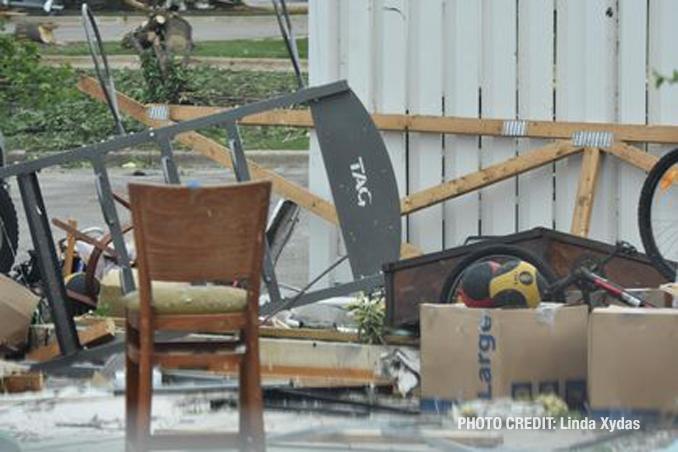 Tornado damage to a storage garage near the border of Naperville and Woodridge